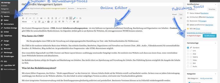 CMS am Beispiel dieser Seiten-Erstellung - die Onlinerin