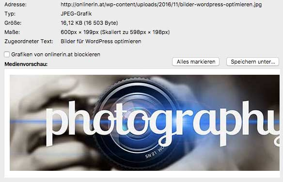 Bildinformation - Bilder in WordPress
